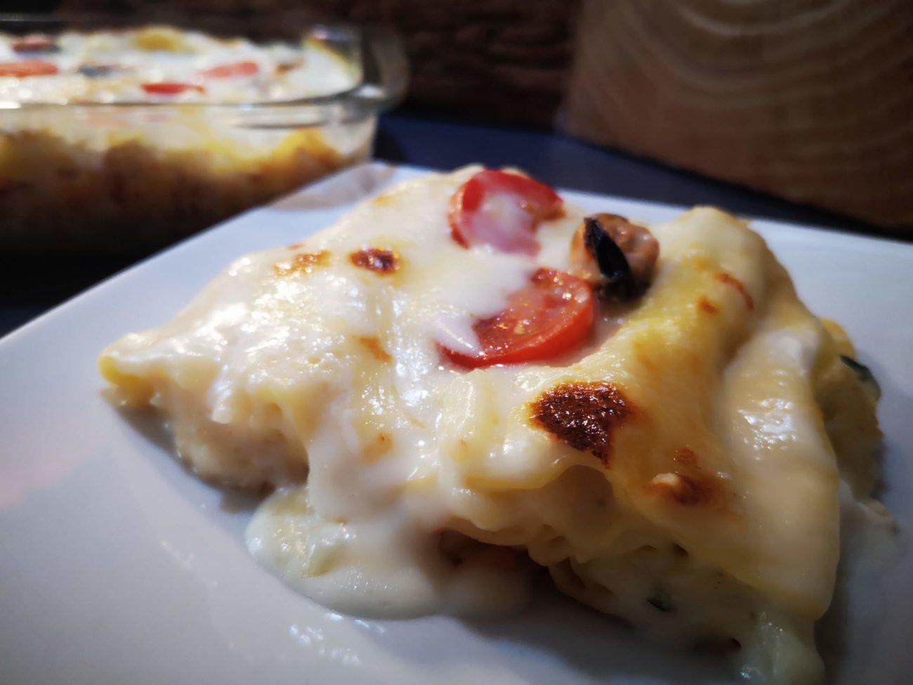 Lasagne con crema di patate e cozze