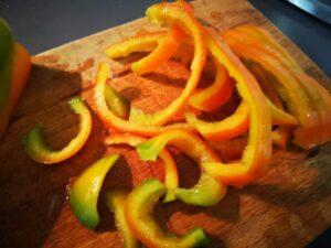 taglio dei peperoni