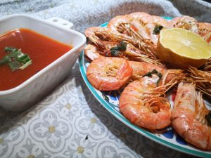 Gamberoni in padella con salsa agrodolce piccante